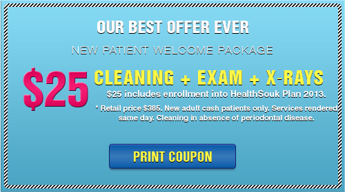 Our Best Offer Ever - New Patient Welcome Package - $25 cleaning + exam + X-rays -